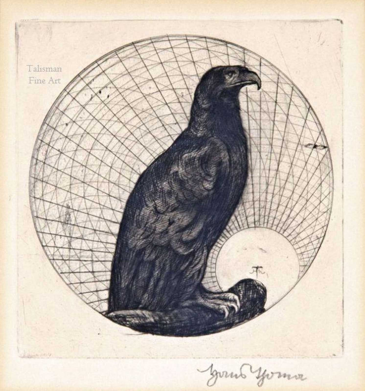 Talusman Fine Art Hans Thoma, etching, 'Sas' (Eagle) (c.1901)  SOLD
