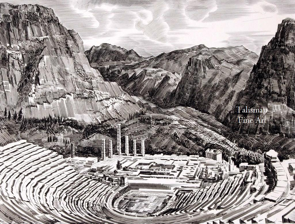 Talusman Fine Art Albert Decaris signed engraving of The Theatre of Delphi for sale. (We have more by this Artist)
