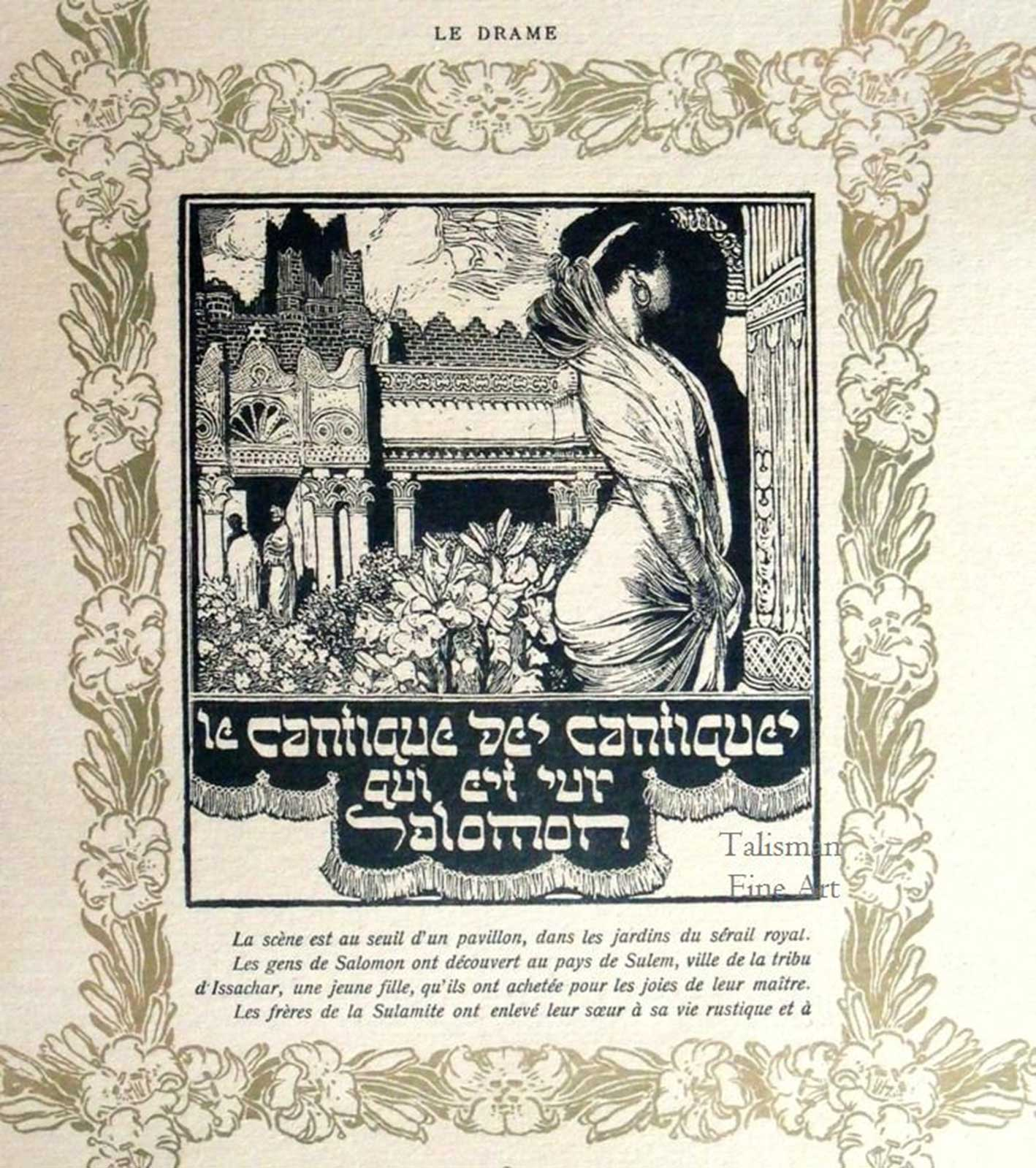 Talusman Fine Art Frantisek Kupka, Wood Engraving No 5 to illustrate 'Le Cantique des Cantiques Qui Est Sur Salomon'.