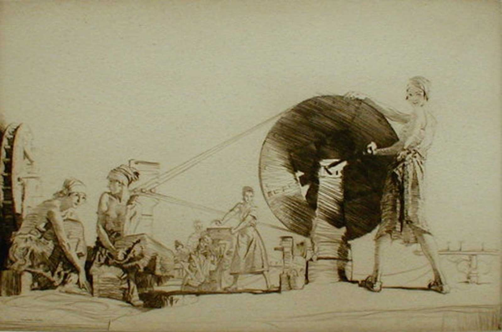 Talusman Fine Art William Russell Flint - 'Aragonese String Makers' - Drypoint Etching