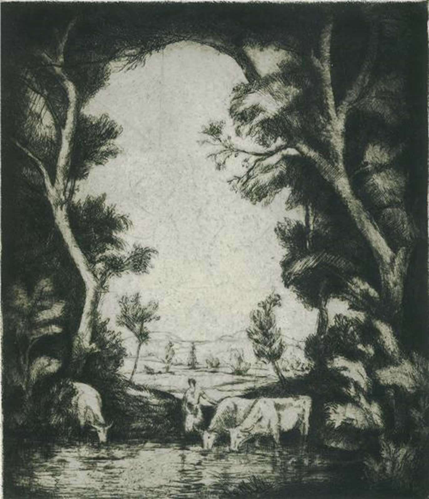 Talusman Fine Art Pastoral Scene with Figure and Cattle at a Pond