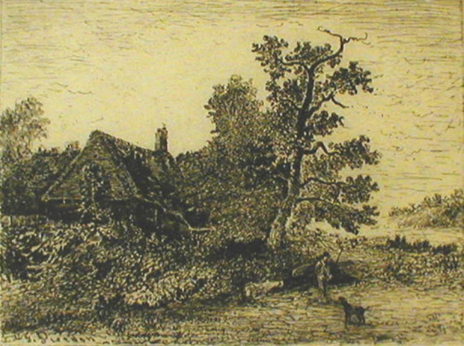Talusman Fine Art Francois Pierdon - Landscape with Cottage