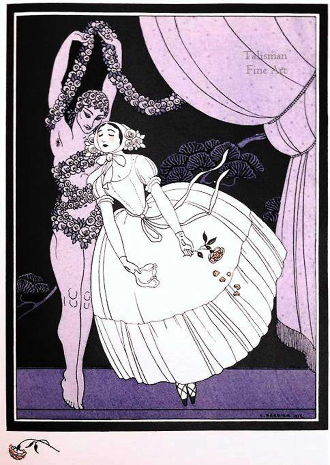 Talusman Fine Art George Barbier pochoir of Tamara Karsavina and Vaslav Nijinsky in Le Spectre de la Rose SOLD