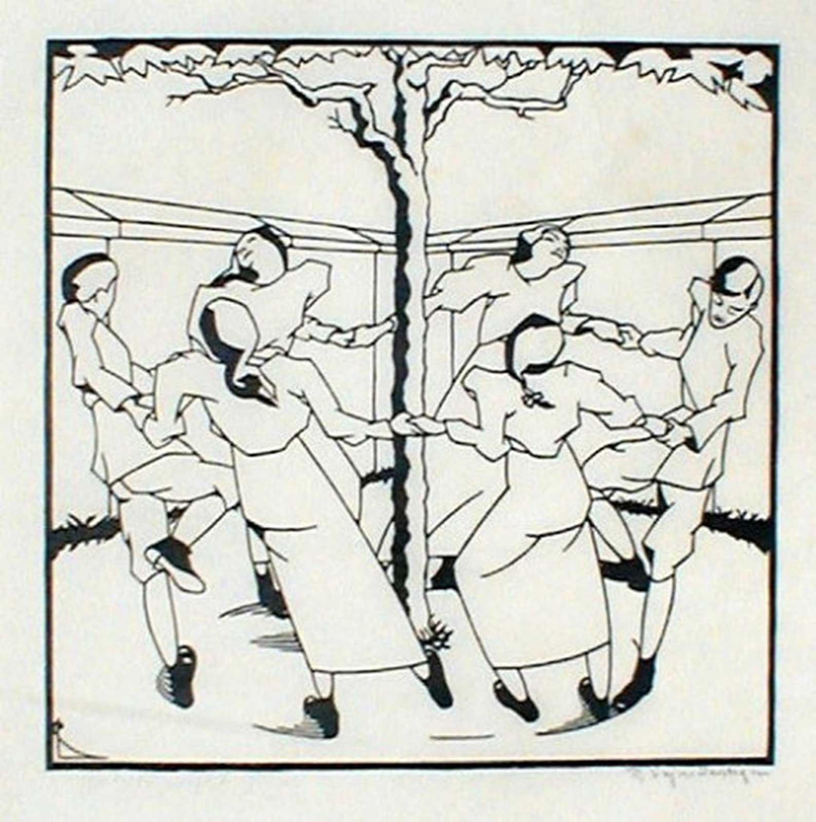 Talusman Fine Art Robert Pajer-Gartegen - 'Ring Dance 2' - Woodcut