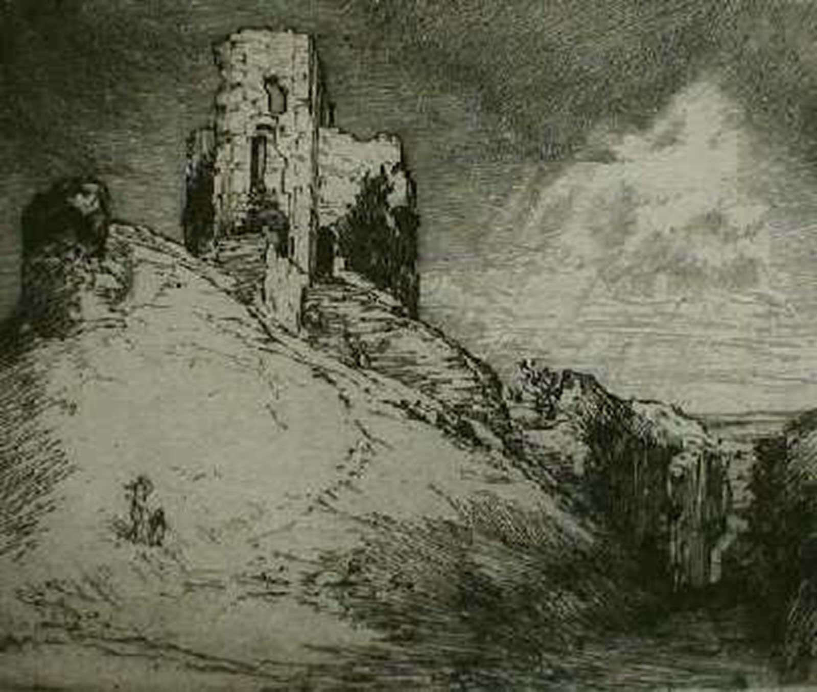 Talusman Fine Art Alfred Bentley, Ruined Castle, Drypoint Etching