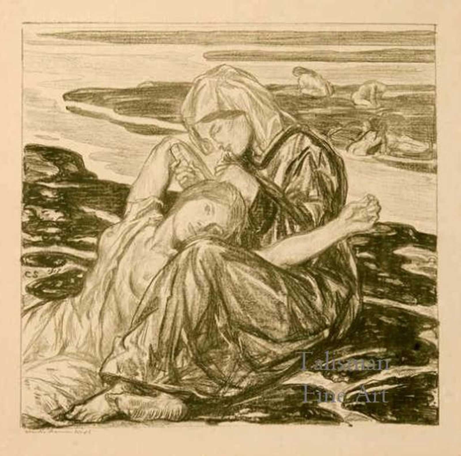 Talusman Fine Art Charles Haslewood Shannon - The Ebb Tide (in green), lithograph. (We have more lithographs by Shanno