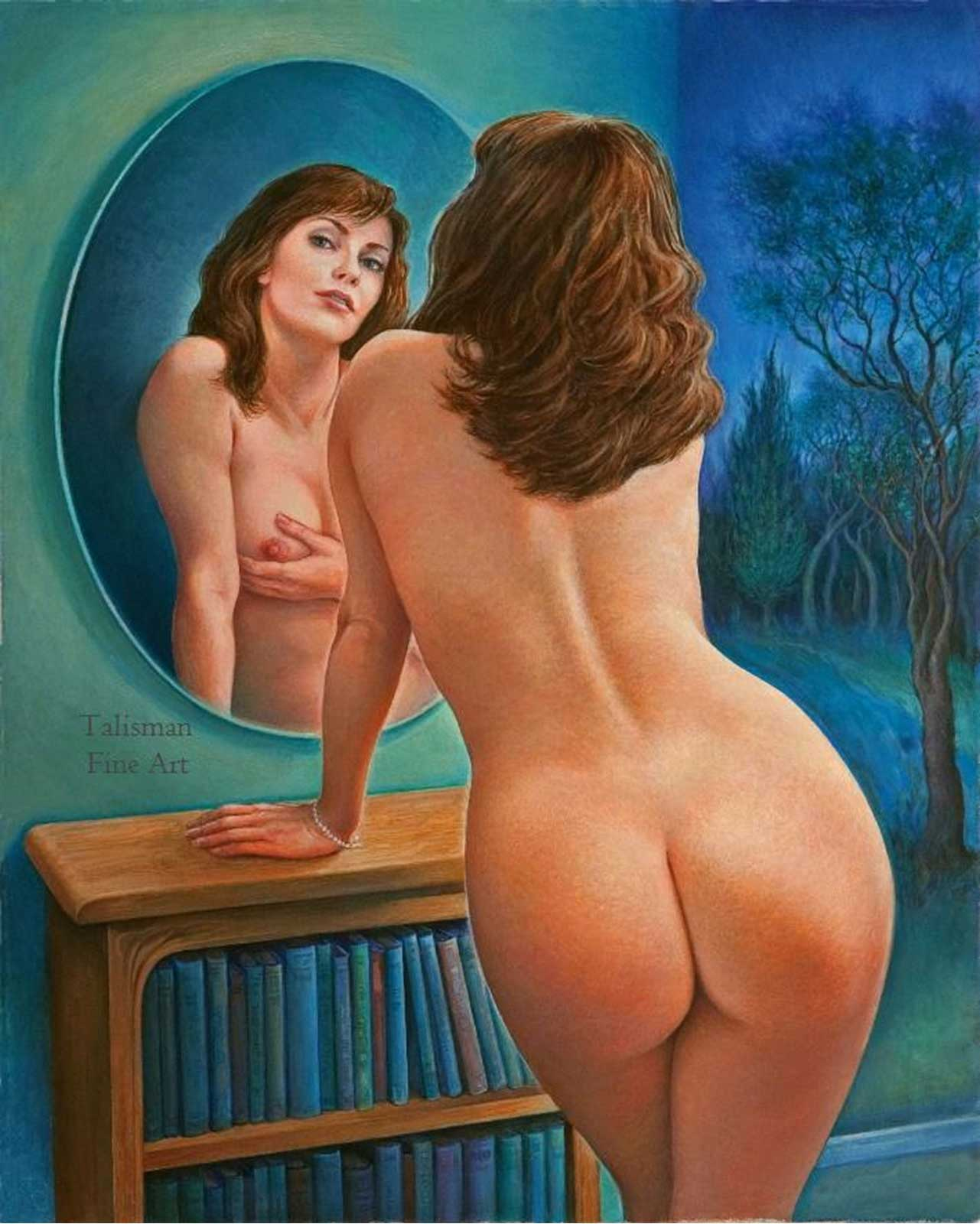 Talusman Fine Art Lynn Paula Russell - Mirror Lady (Sold) (We have more paintings by Lynn Paula Russell on this websit