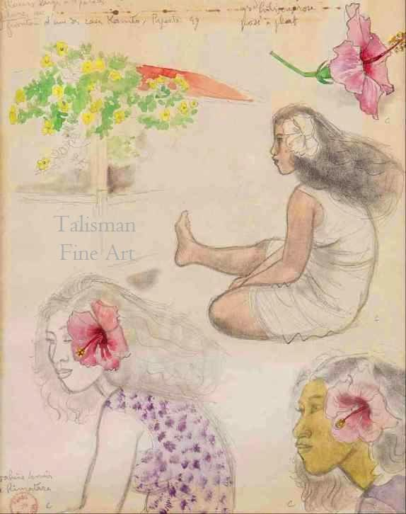 Talusman Fine Art Jacques Boullaire - Hibiscus Rose and Papeete drawings (We have more work by Jacques Boullaire)